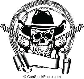 cowboy, und, zwei, pistolen