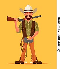Cowboy. Vector flat cartoon illustration