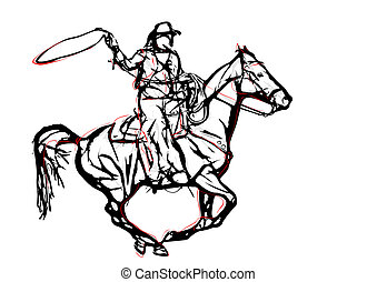 cowboy vector illustration on white