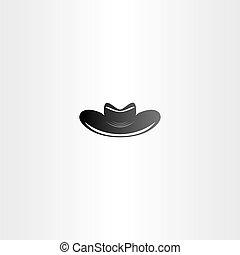 cowboy, vector, ontwerp, zwarte hoed, pictogram