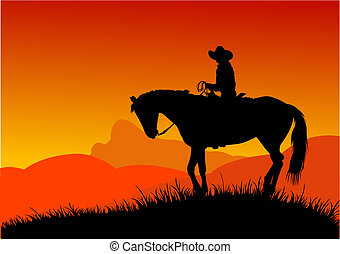 Cowboy - Vector silhouette of cowboy  riding in the desert