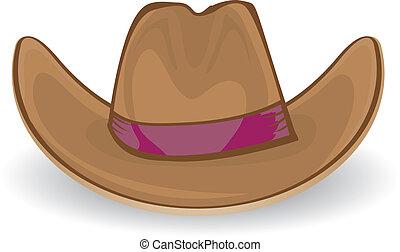 cowboy, vektor, illustration., hat.