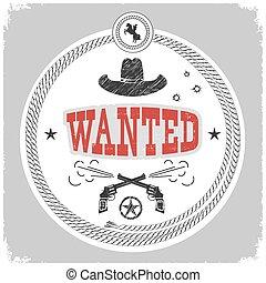cowboy, vrijstaand, etiket, decotarion, white., gevraagd