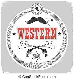 cowboy, vrijstaand, etiket, decotarion, white., westelijk