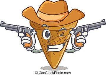 Cowboy wafer cone character cartoon