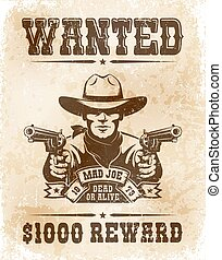 Cowboy wanted poster - vintage retro style