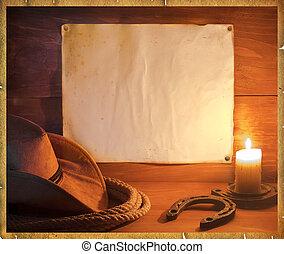 cowboy, western, háttér, helyett, szöveg
