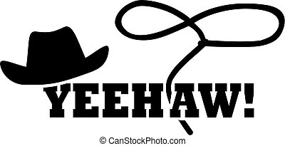 Cowboy western hat with lasso - yeehaw