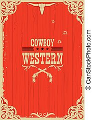 Cowboy western red background with guns