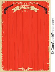 Cowboy western red background with guns for text