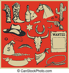 Cowboy Western set of objects.