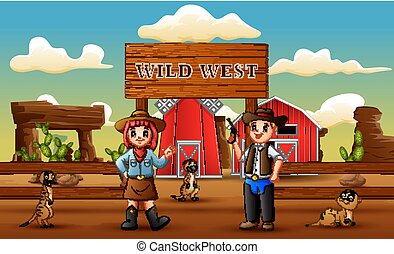 Cowboy wild west cartoon with meerkats in the farm