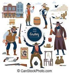 Cowboy, wild west set. Flat isolated vector illustration - ...