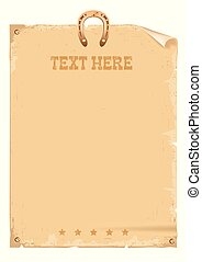 Cowboy wild west vintage paper for text and horseshoe on white