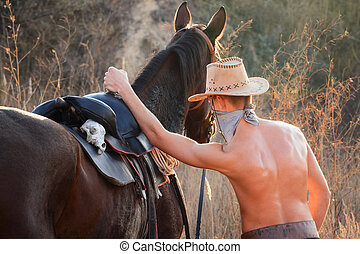 Cowboy with a horse3