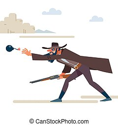 Cowboy with a rifle throws a bomb. The Old Wild West. Cartoon vector illustration. Flat style. Isolated on white background