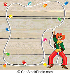 Cowboy with Christmas Lights Lasso