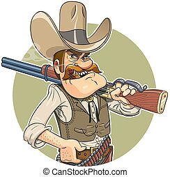 Cowboy with gun. Eps10 vector illustration. Isolated on white background