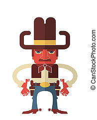 Cowboy with guns. Vector isolated on white