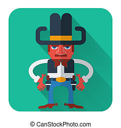 Cowboy with guns.Vector flat style icon