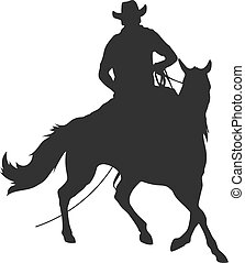 cowboy with lasso riding a horse