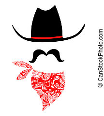 Cowboy With Mustache and Bandana - Whimsical cowboy...