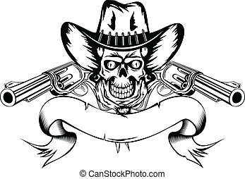Vector illustration human skull in cowboy's hat and two revolvers