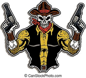 cowboy bandit with skull face and pistols