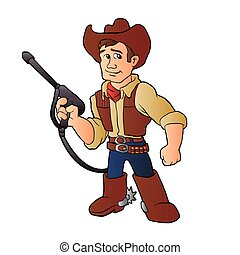 cowboy with water pressure cleaner. vector illustration