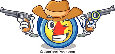 Cowboy yoyo character cartoon style vector illustration
