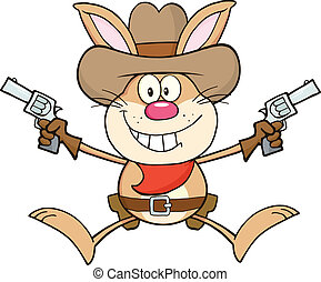 cowboy, zeichen, karikatur, kanninchen