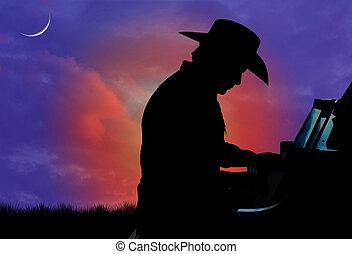 cowboy, zongoraművész, árnykép