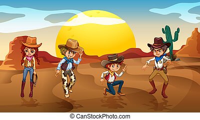 Cowboys and a cowgirl at the desert - Illustration of the...