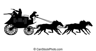 cowboys are riding a stagecoach