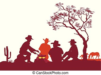Cowboys around a campfire. Vector silhouettes on white for design