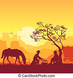 Cowboys around a campfire. Western American desert landscape with horses