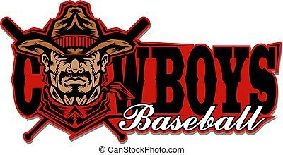 cowboys baseball team design with mascot and crossed bats ...