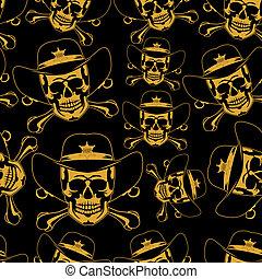 cowboy's, costura, emblema, cranio, chapéu