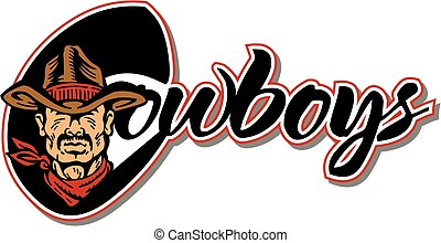 cowboys design with mascot head wearing cowboy hat