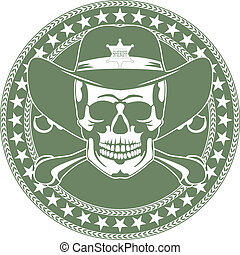 cowboy's, emblema, cranio, chapéu