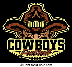 cowboys football team design with half mascot and cowboy hat...
