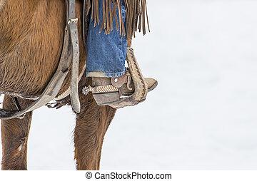 Cowboys Herding Horses In The Snow