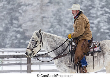 Cowboys Herding Horses In The Snow - Cowboys round up a herd...
