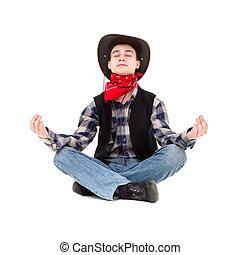 cowboy's, homem jovem, bonito, chapéu, medita
