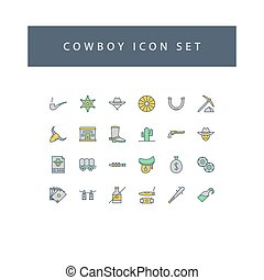 Cowboys icon set with filled outline style design.