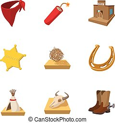 Cowboys icons set, cartoon style