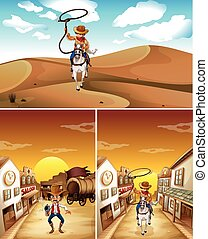 Cowboys in three different scenes