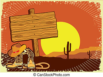 Cowboy's landscape .Grunge wild western background of sunset...