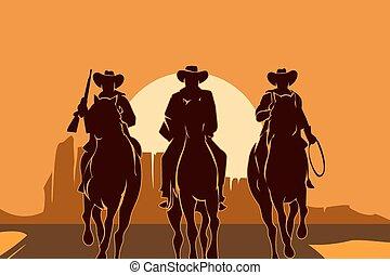 Cowboys riding horses in desert. Freedom man silhouette, sun...