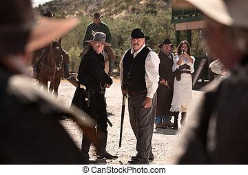 cowboys, schlacht, in, straße